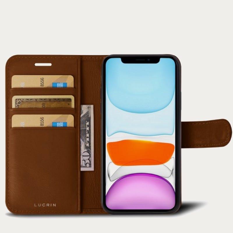 iPhone 11 Pro Max -lompakkokotelo - Kellanruskea - Sileä nahka
