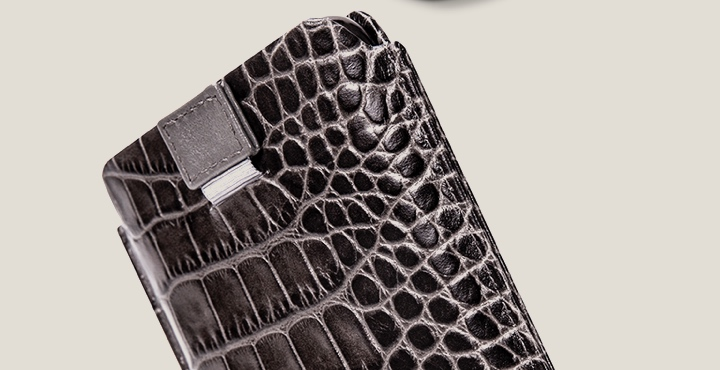 iPhone 11 Pro -kotelo vetohihnalla - Hiirenharmaa - Krokotyylinen vasikannahka