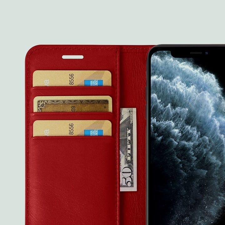 iPhone 11 Pro Max -lompakkokotelo - Punainen - Sileä nahka